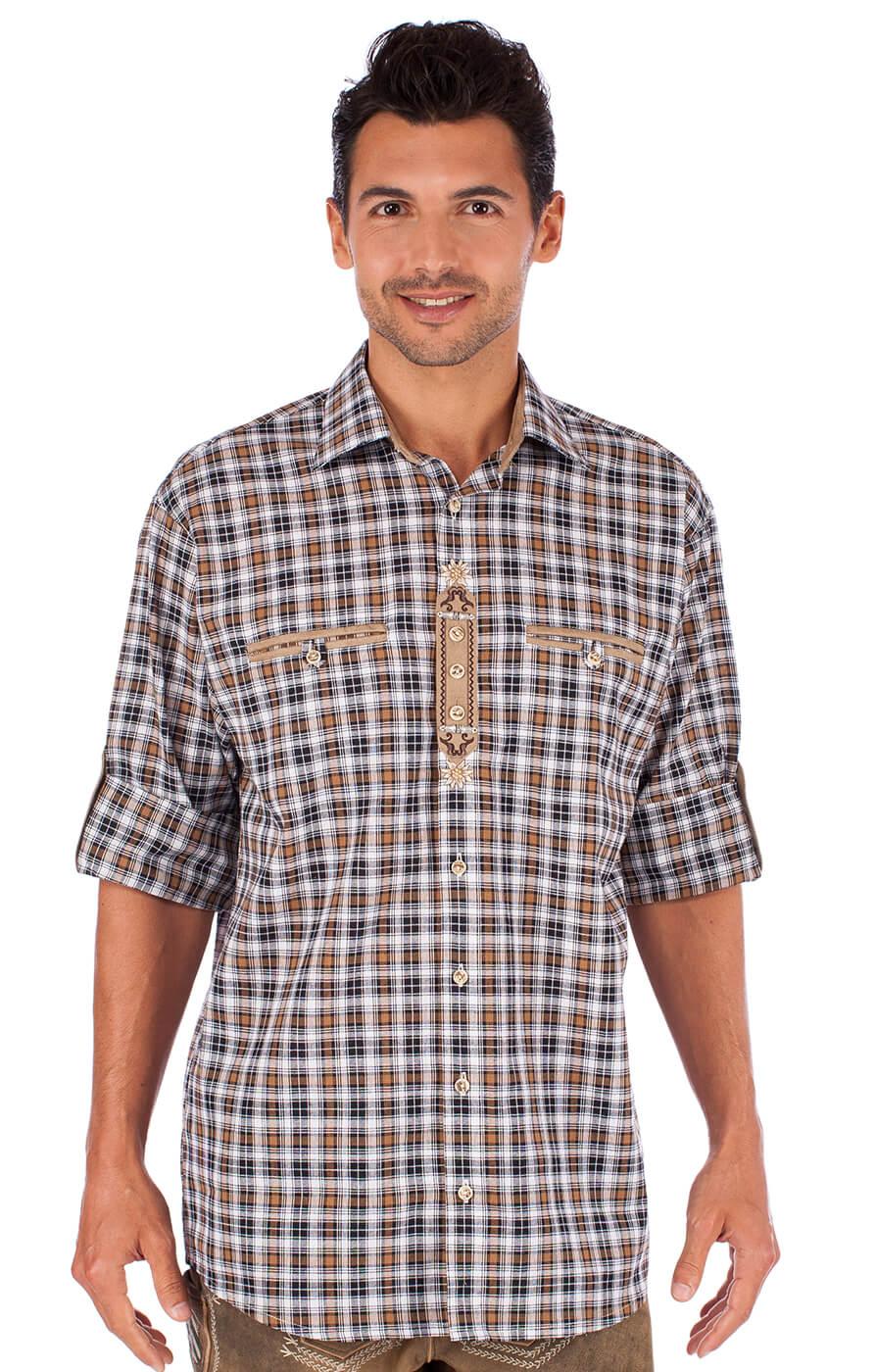 Trachtenhemd braun schwarz von OS-Trachten