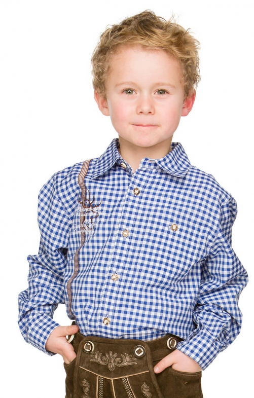 Children traditional shirt LEO blue