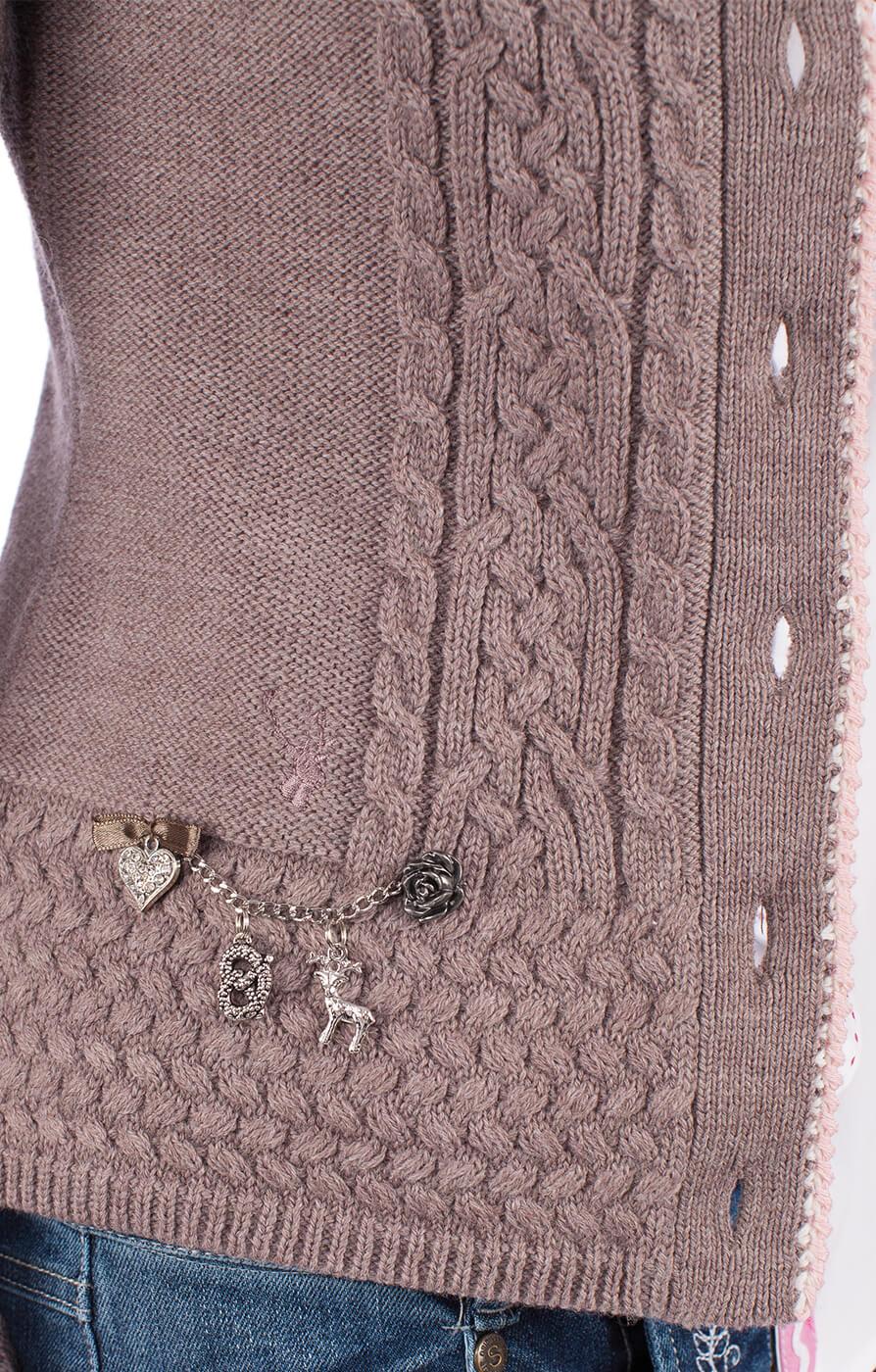 weitere Bilder von Trachten Strickjacke Efeu taupe