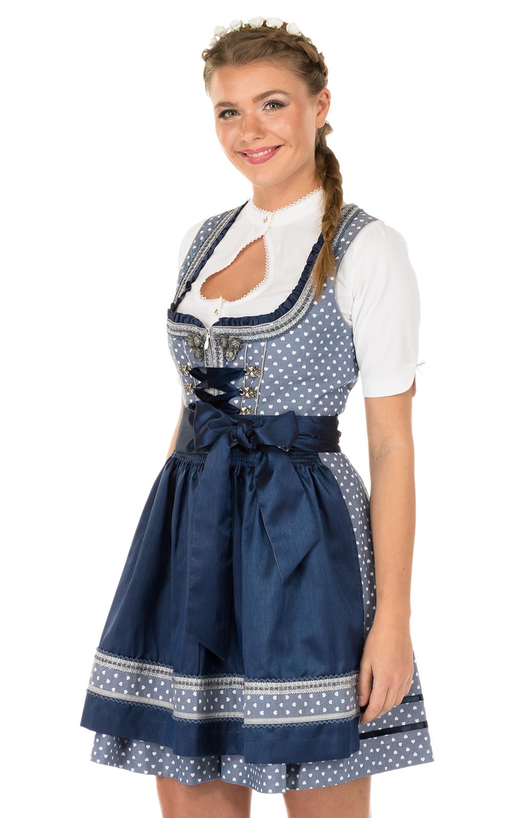 Krüger Minidirndl SWEET HEART 50cm blau von Krüger Dirndl