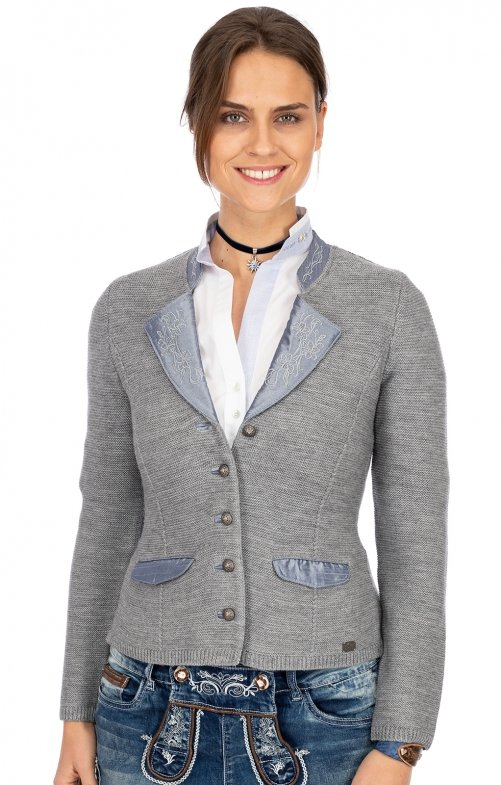 Traditional Cardigan NEUWEILER light gray