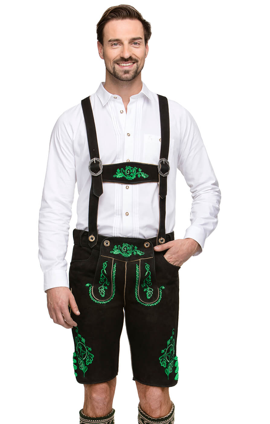German leather trousers with suspenders RUPERT black green von Stockerpoint