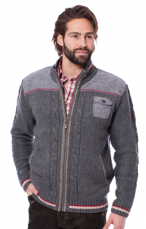 Trachten german cardigan BALDO gray