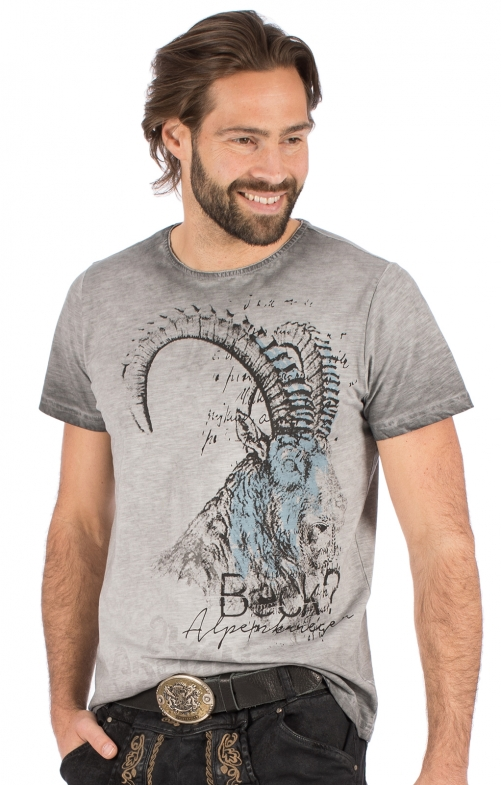 Trachten T-Shirt RUDI grau