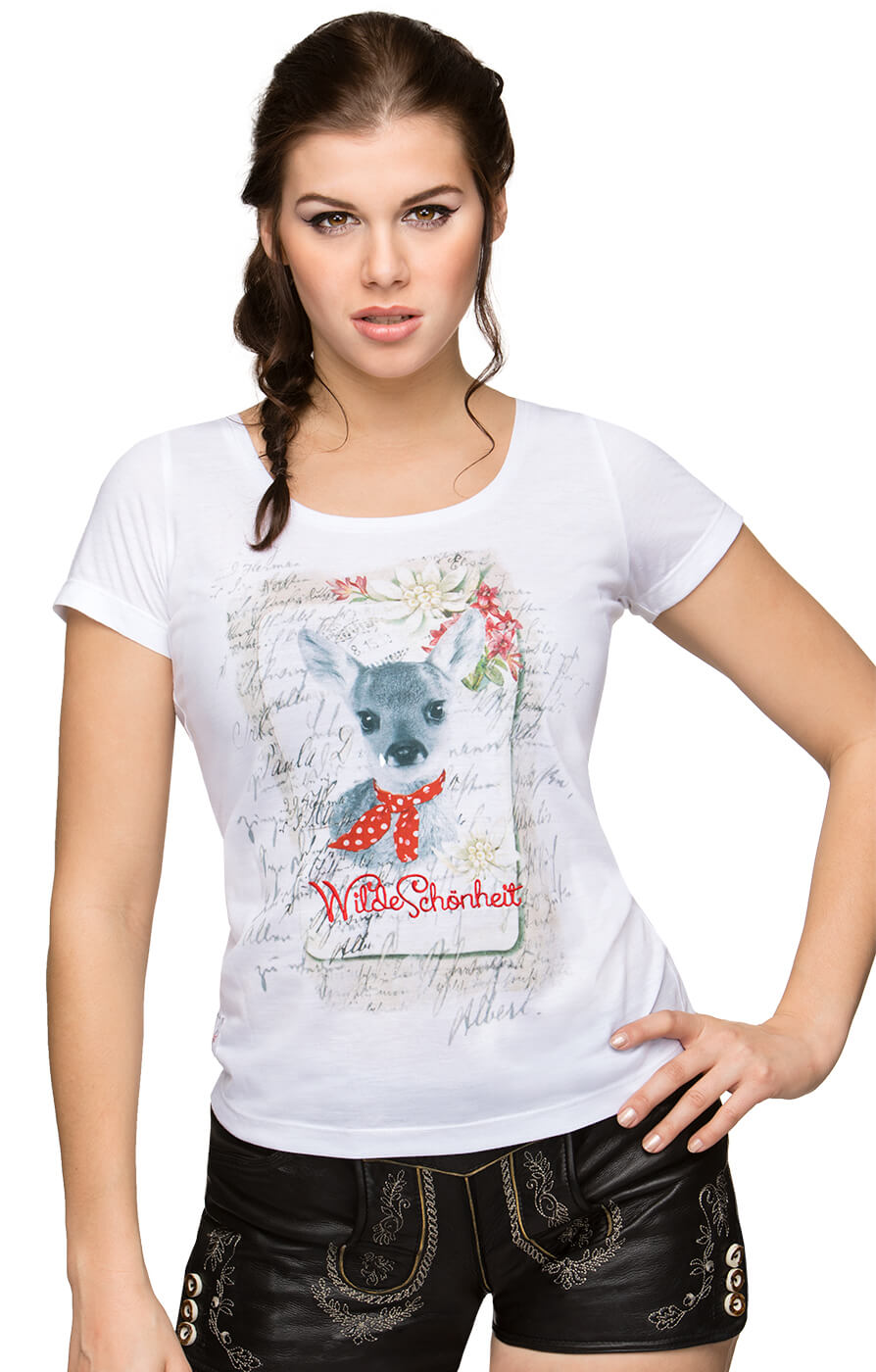 Traditional T-Shirt WILDESCHOENHEIT white von Stockerpoint