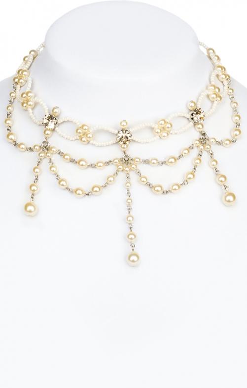 Collana di perline 12223 champagn bianco