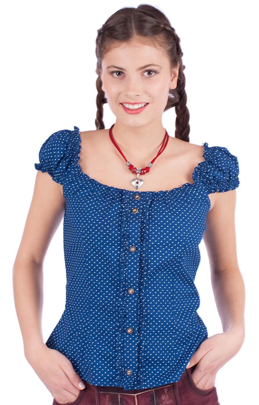 Trachten blouse Milena blue von Almsach