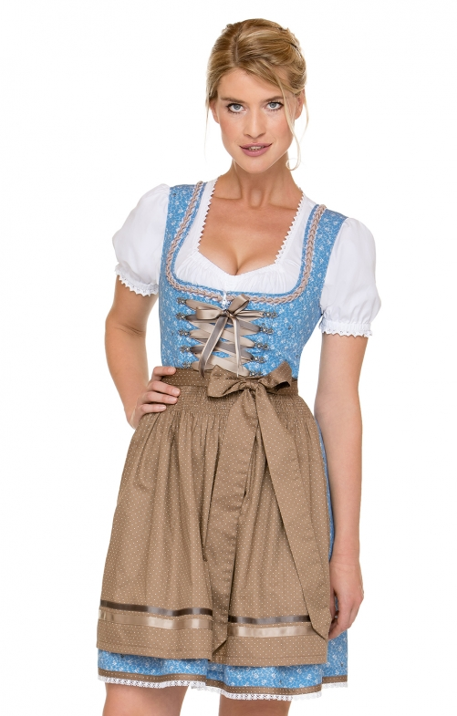 German Mini dirndl 2pcs. Babsi blue brown 50 cm