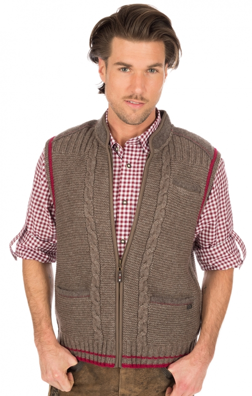 Traditional waistcoat knitted brown red