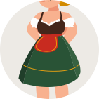 a little chubby woman in a dirndl