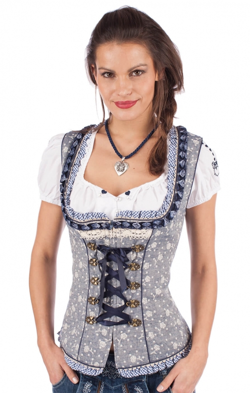 Traditional dirndl corsage MICHAELA blue nature
