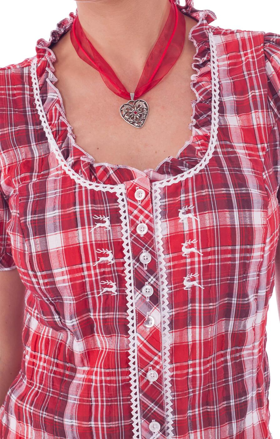weitere Bilder von Trachten Rüschenbluse FERENA Hirschstick karo rot