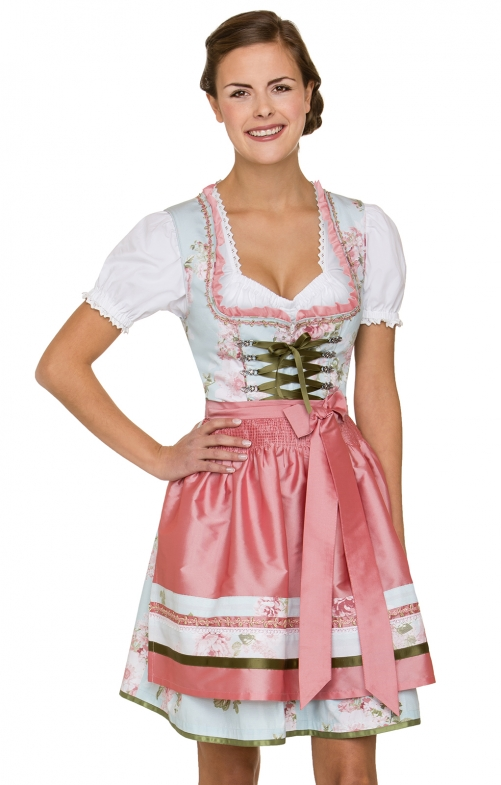German Mini dirndl 2pcs. Lara blue pink 50 cm