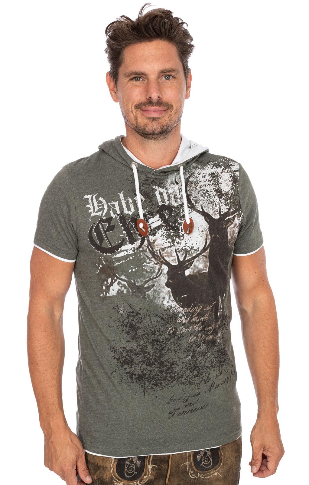 Trachten T-Shirt Hoody LENNOX dunkelgrün von Hangowear