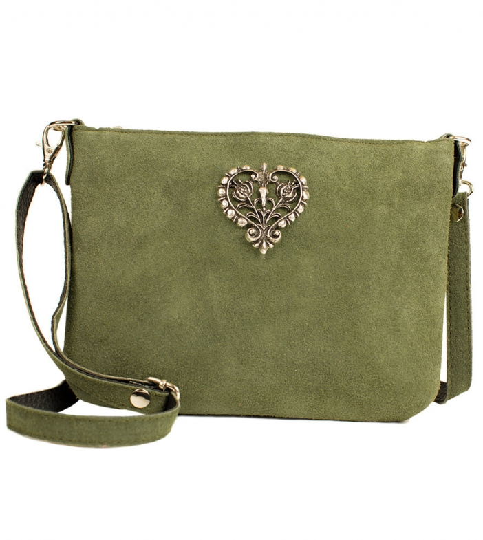Traditional dirndl bag with metal heart TA30540-8525, olive