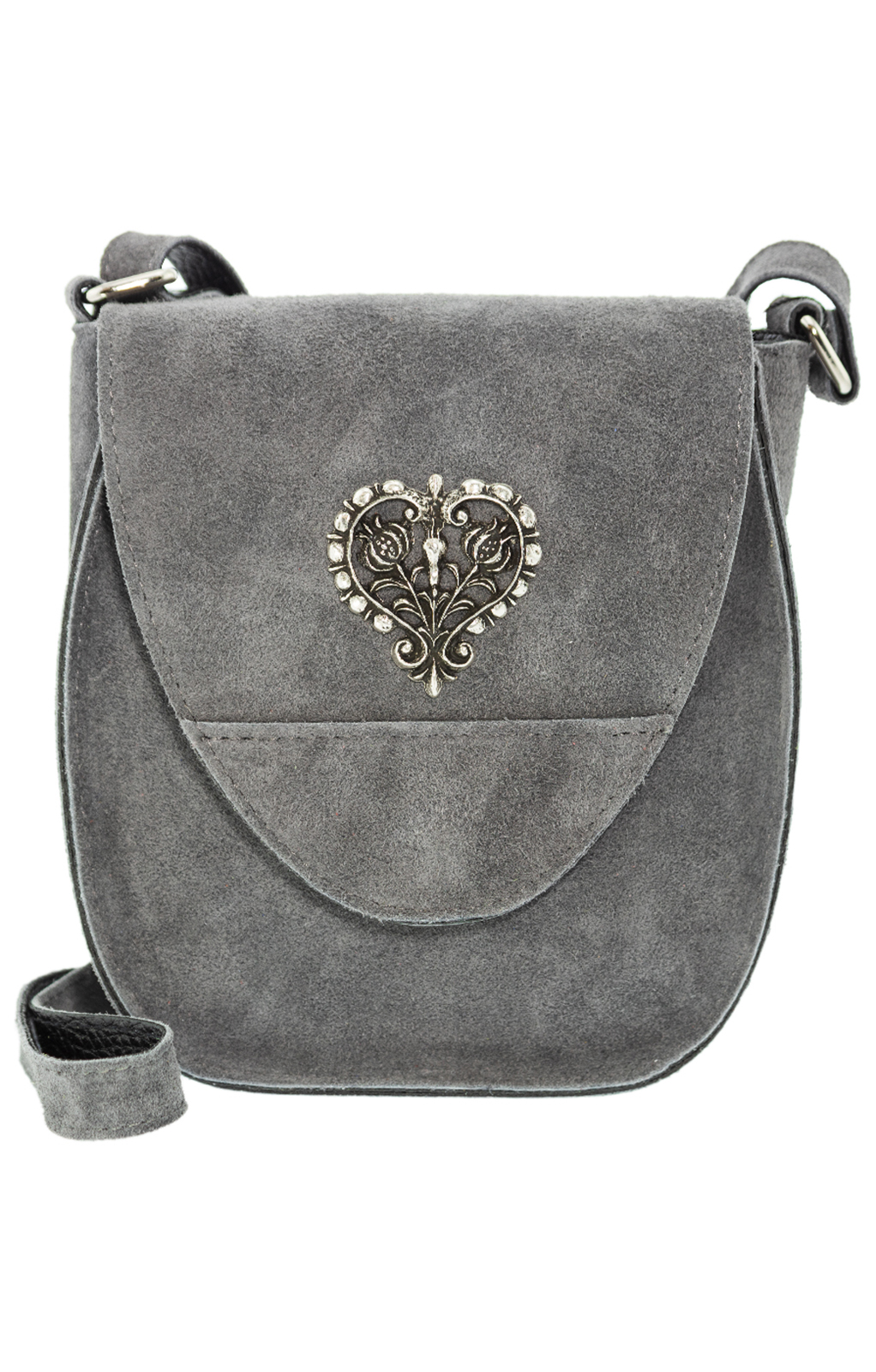 Traditional leather bag with heart gray von Schuhmacher