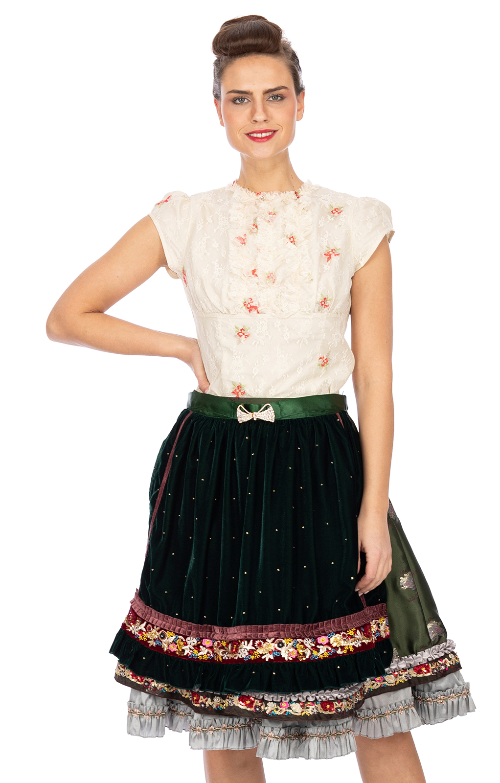 Traditional skirt with apron Lola Paltinger SHANNON green von Stockerpoint