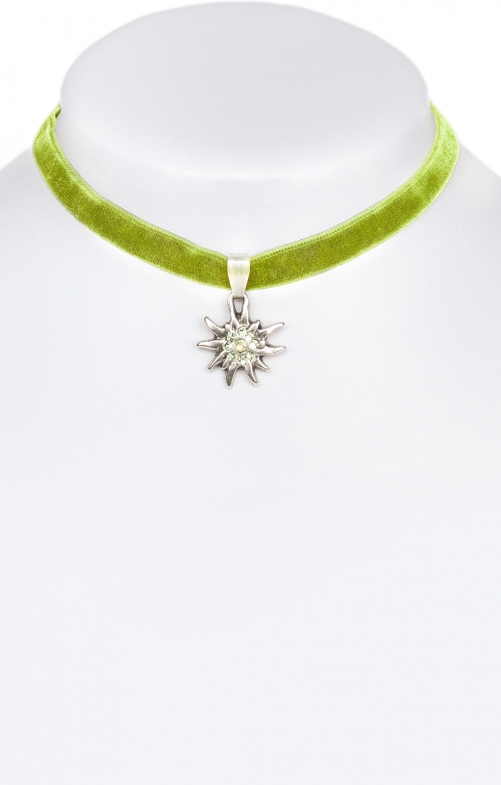 Traditional necklace Edelweiss green