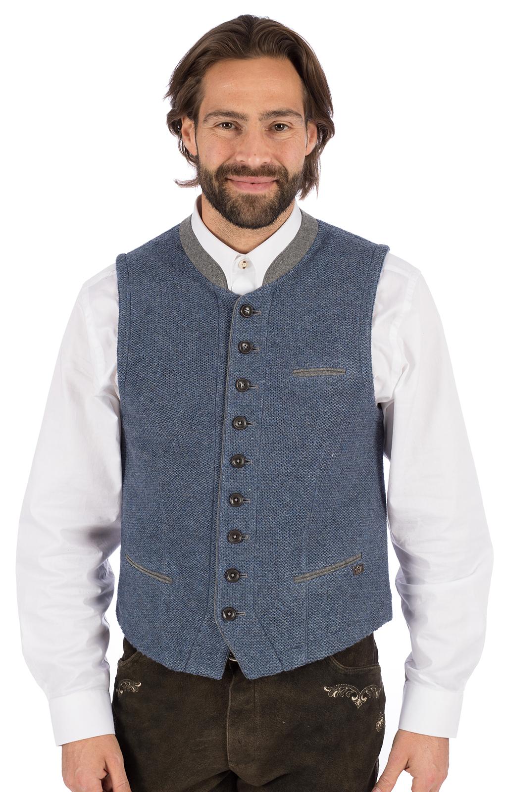Trachtenstrickweste Stehkragen KNALLER SW jeansblau von Spieth & Wensky