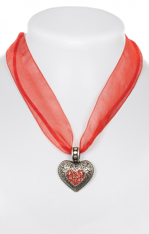 Traditional necklace with heart red