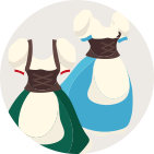 dirndl with different material and colours