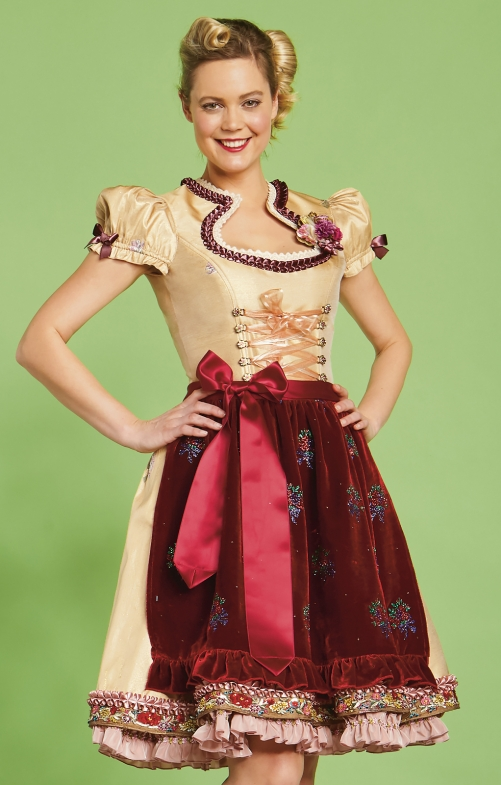 Mini Dirndl Lola Paltinger 2tlg. 50 cm ALIDA gold bordeaux