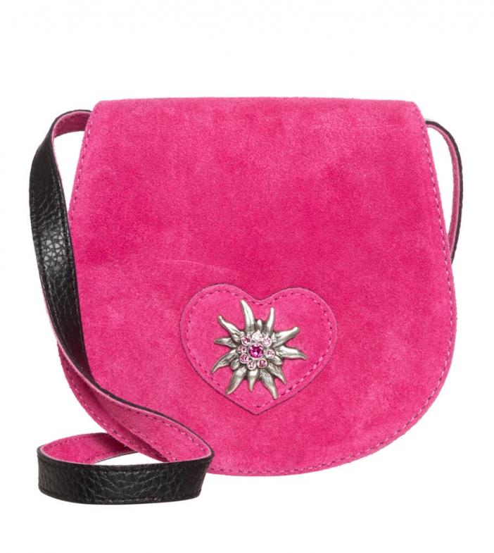 Trachten Ledertasche TA30340 Herz Edelweiss, pink