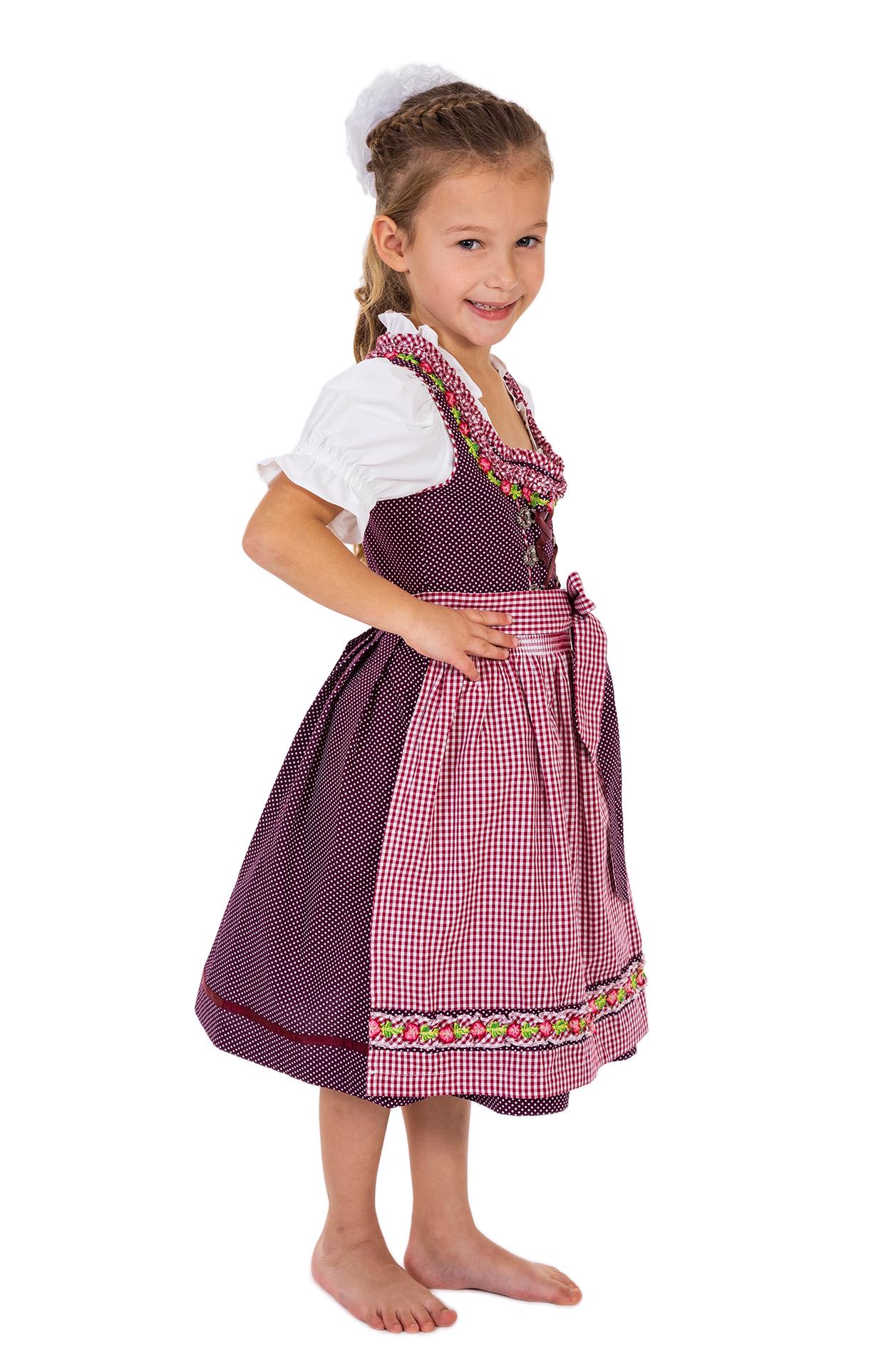 weitere Bilder von Trachten Kinder Dirndl 3tlg. Modell BLANDA KIDS pflaume