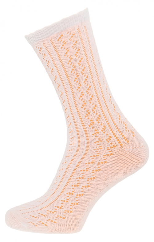Traditional socks with lace CS535-W white
