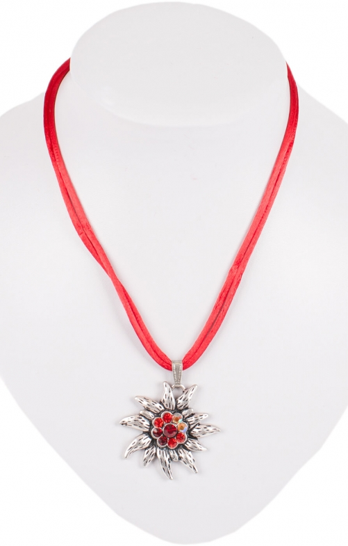 Traditional necklace K95 edelweiss, red