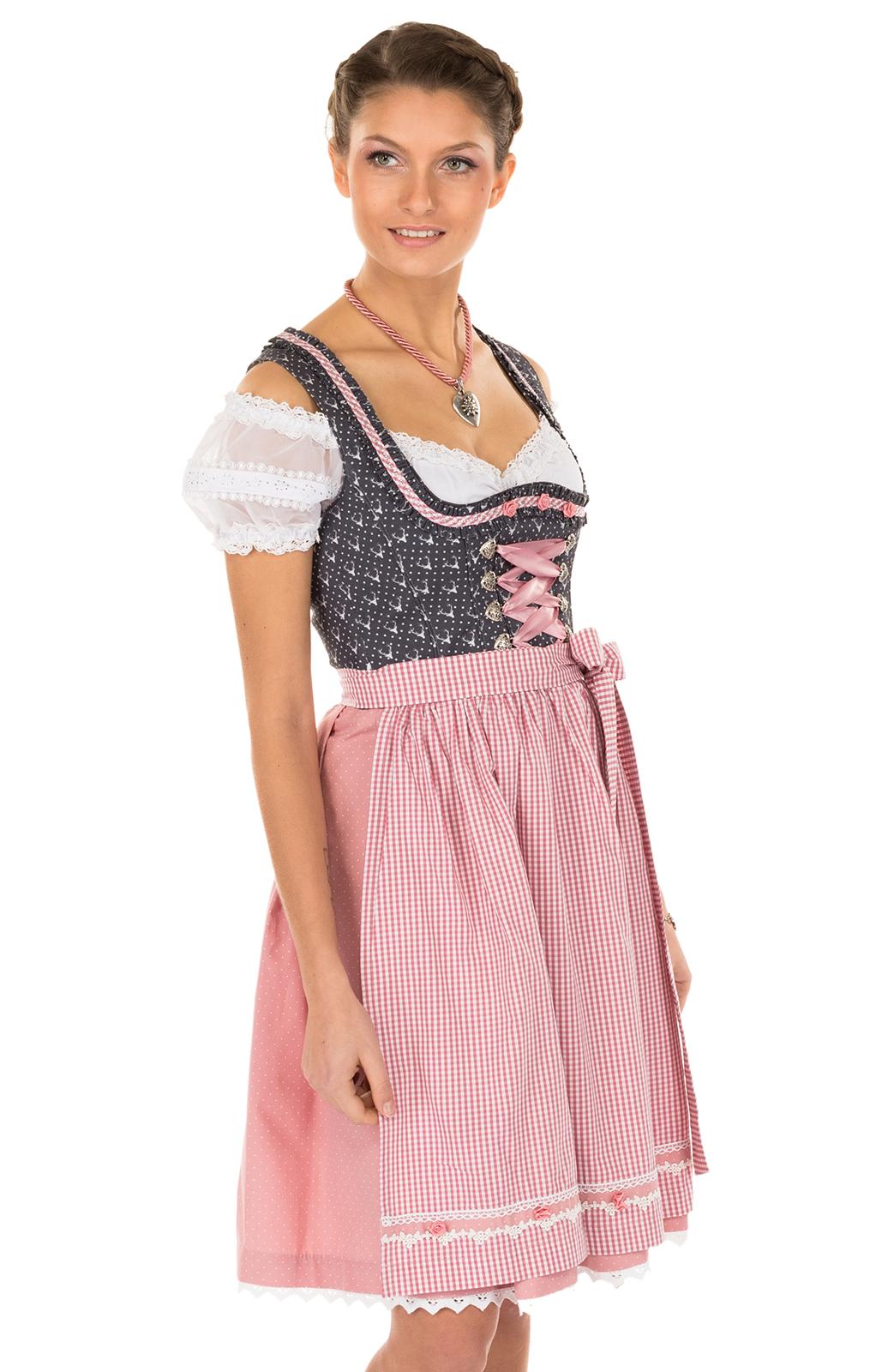 Minidirndl 2pcs. 55 cm Ernesta black pink von Marjo