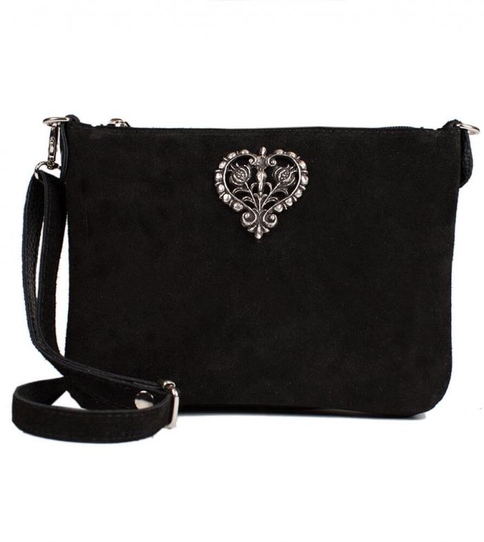 Leder Trachtentasche TA30540, Metallherz, schwarz