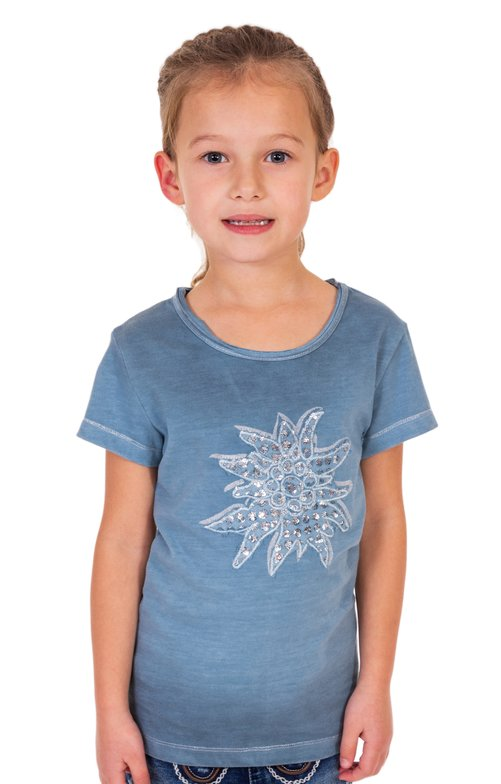 Children traditional shirt K04 - EDELWEIS-KIDS countryblue