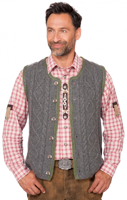 German knitted waistcoat ERMELO middle gray
