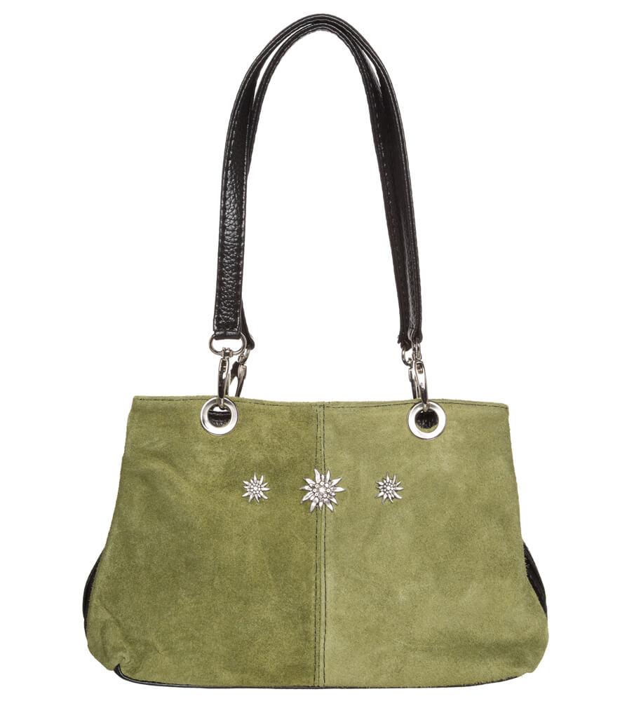 Trachtentasche TA30200 Leder mit Edelweiss, oliv von Schuhmacher