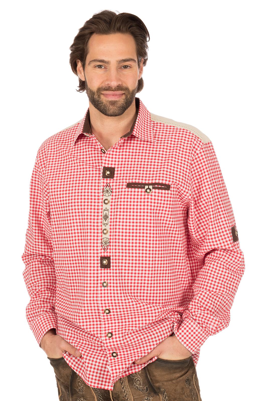 Trachtenhemd Krempelarm BELINI Karo weiss rot von OS-Trachten