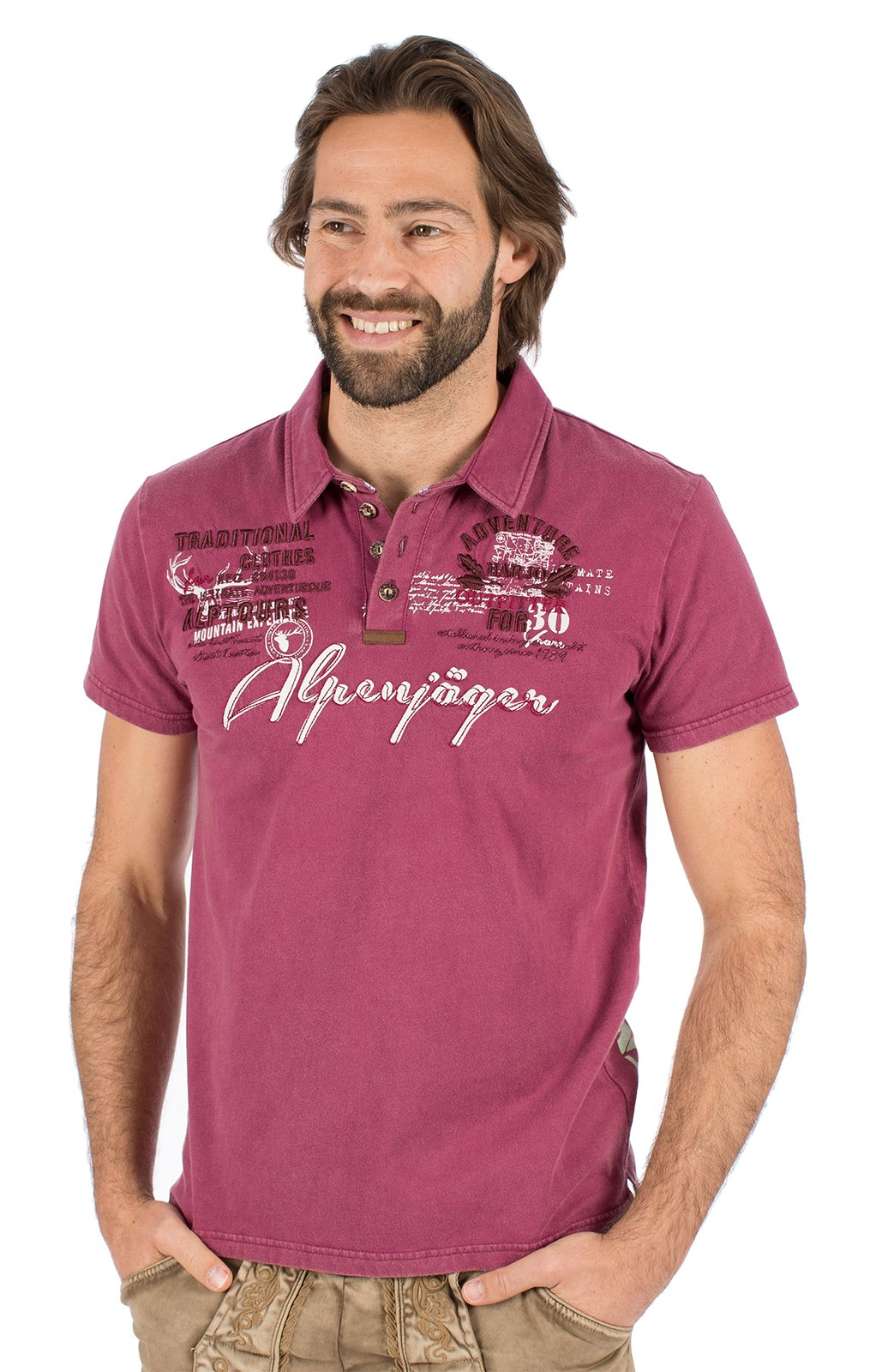 Trachten T-Shirt E09 - ALPENJAEGER bordeaux von Marjo