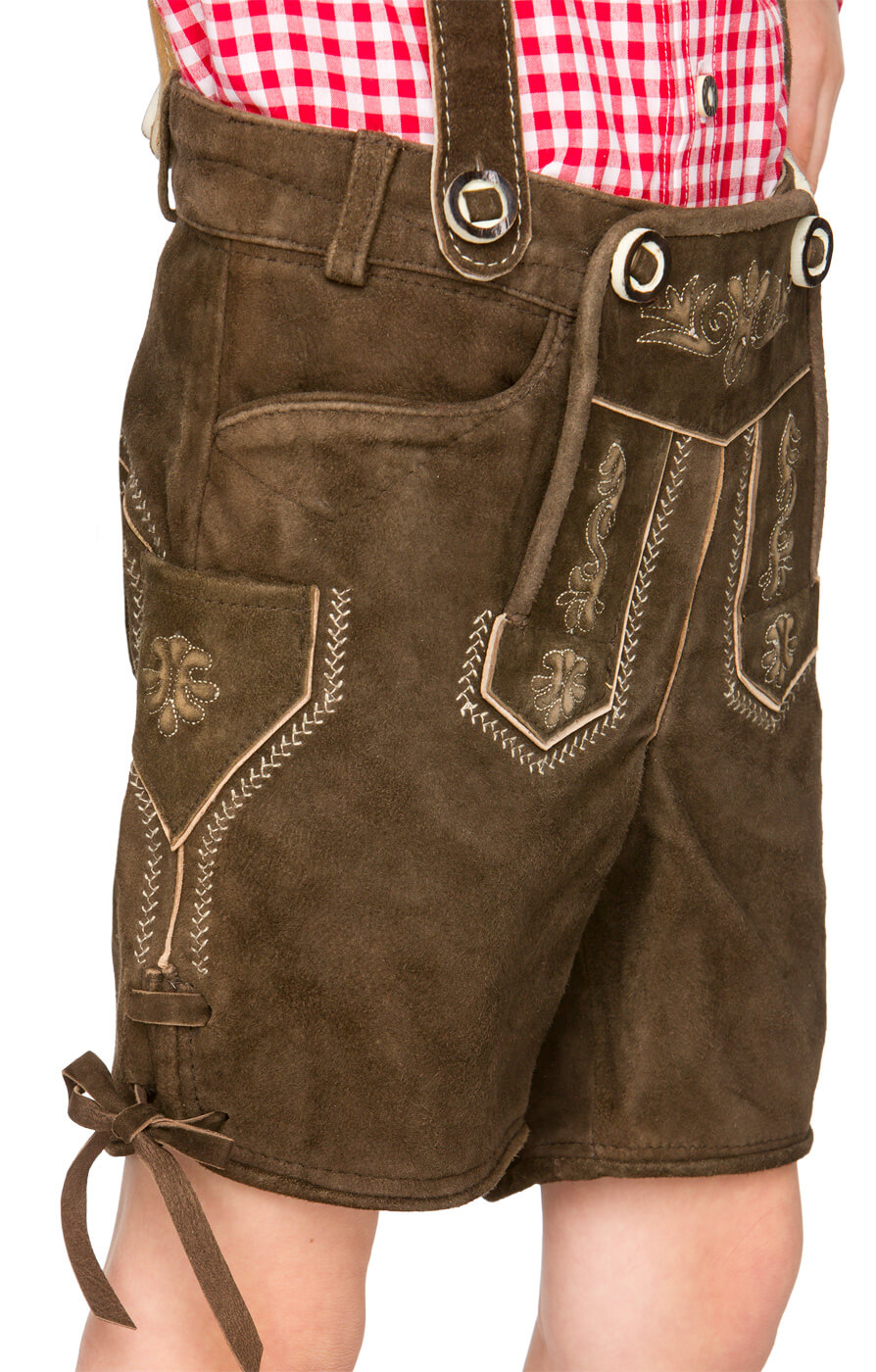 weitere Bilder von Chlidren leather trousers short P-200 darkbrown