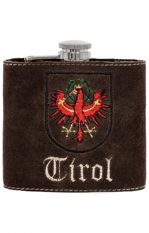 Hip flask with leather TIROL brown