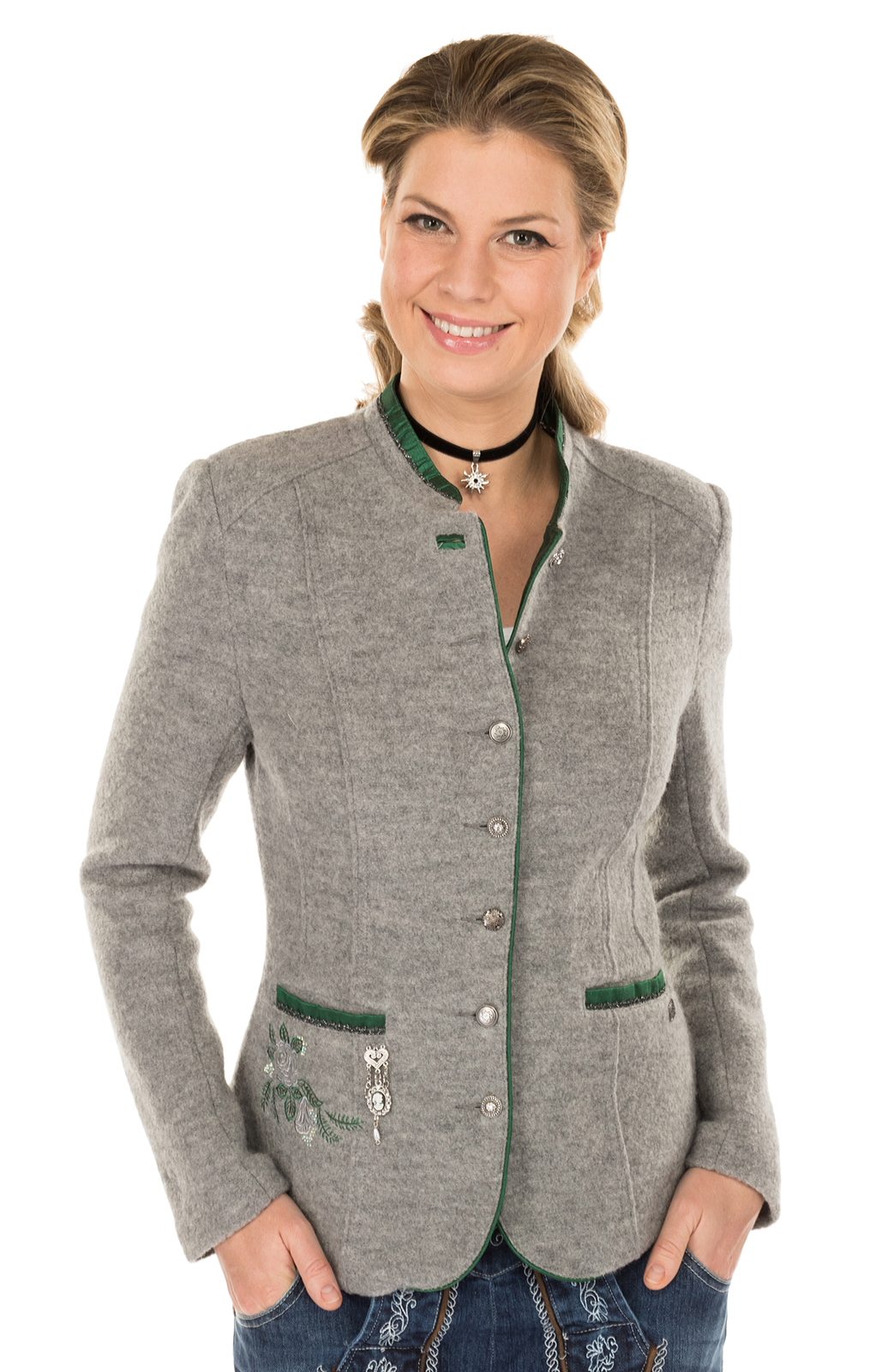 Trachten Jacket outside gray green von Spieth & Wensky