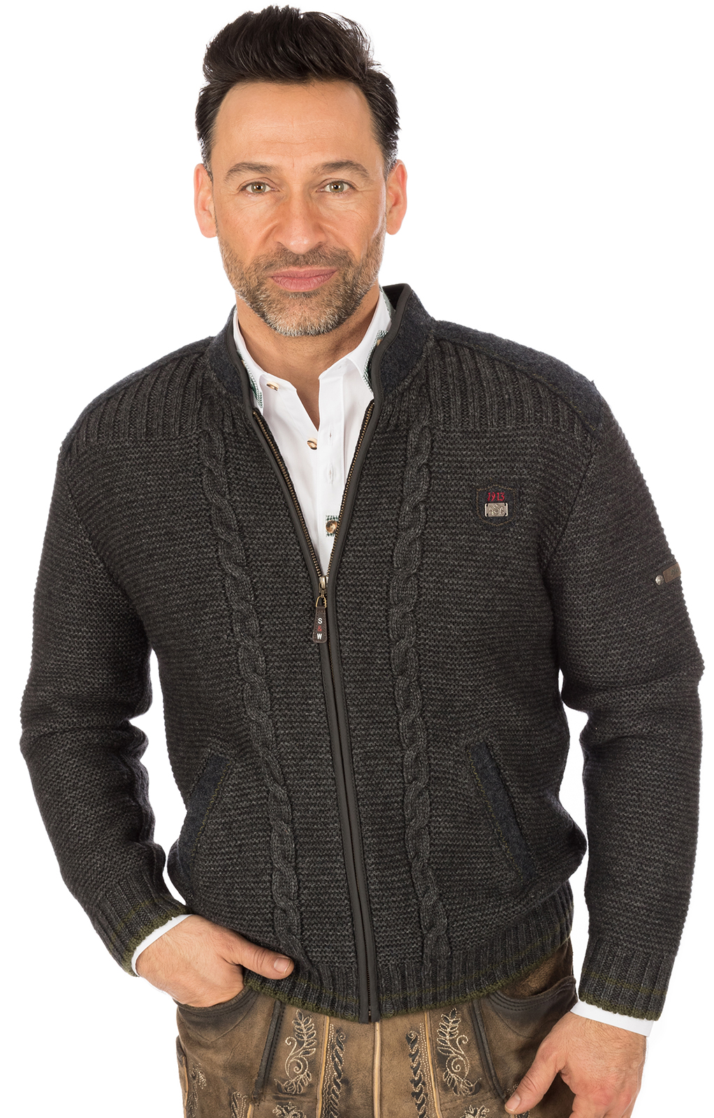 Traditional german cardigan black gray von Spieth & Wensky