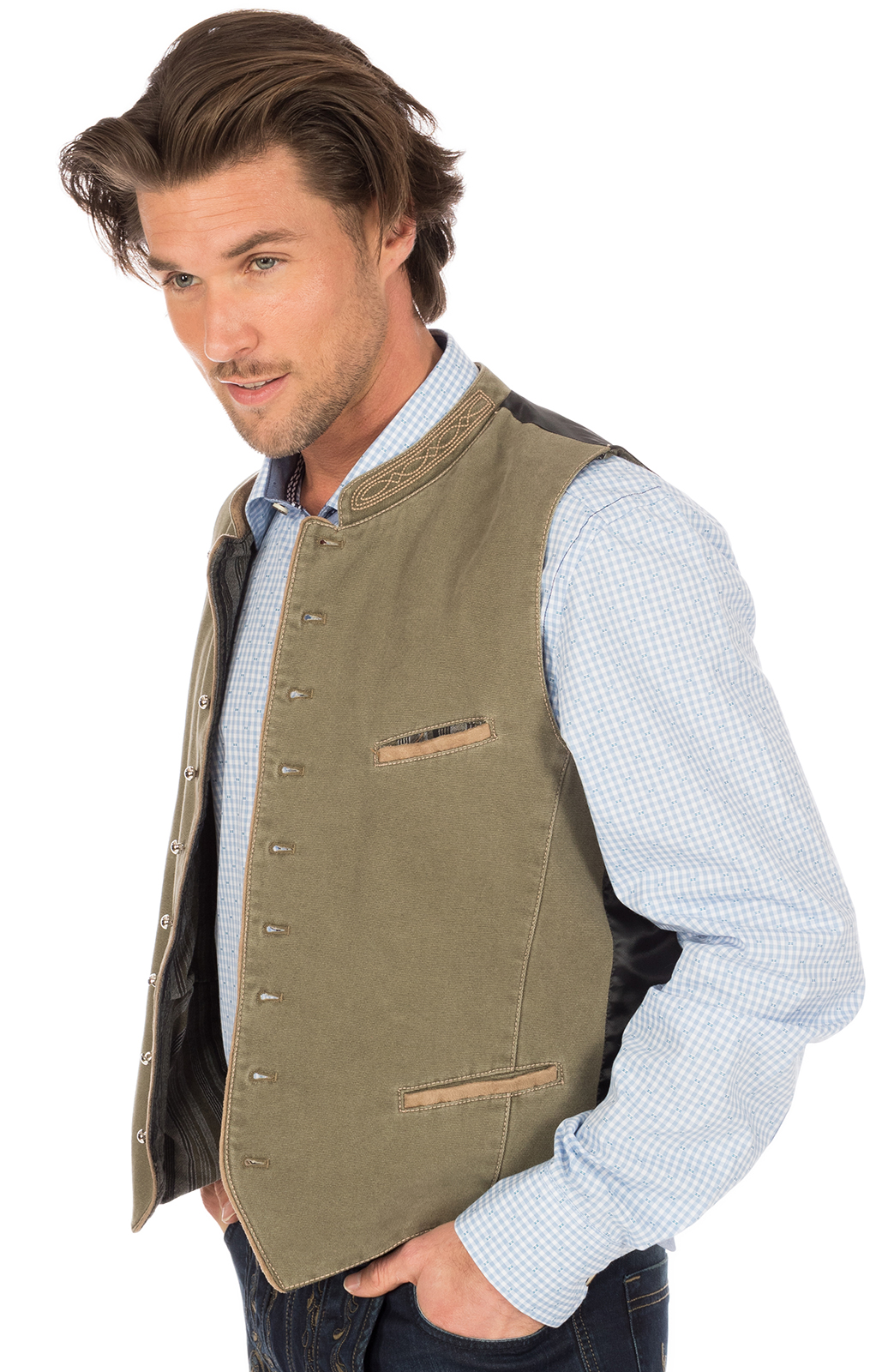 weitere Bilder von Traditional waistcoat with welt pockets ROCKY green