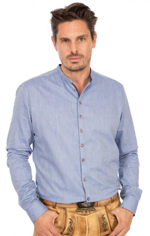 Trachtenhemd Stehkragen PETER hellblau