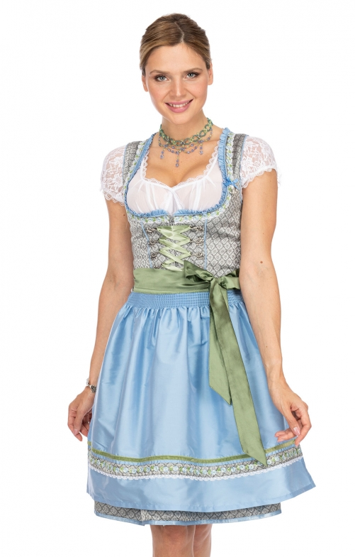 Minidirndl 2pcs. 55 cm NANNI gray light blu