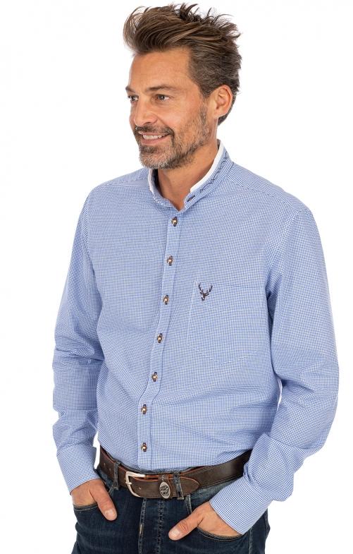Stehkragenhemd ANTONI blau