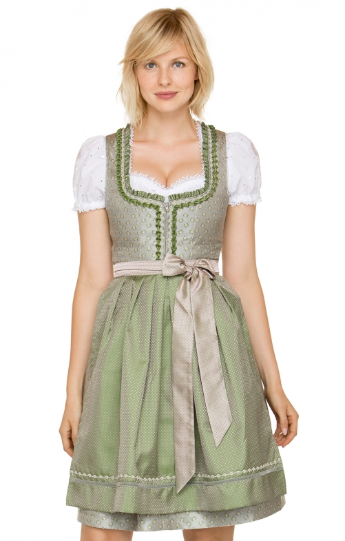 German Mini dirndl 2pcs. Cyra brown green 60 cm