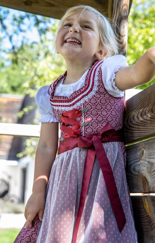 Traditional Children dirndl MURNA KIDS blood red