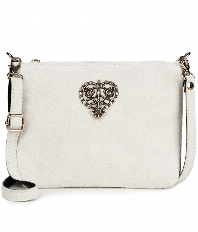 Traditional leather bag with metal heart TA30540-8525 white