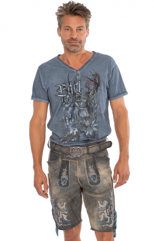 Lederhosen short with belt BAYERNBUA gray antique