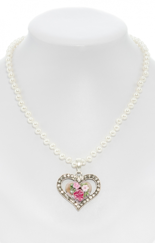 Pearl necklace with heart pendant pink